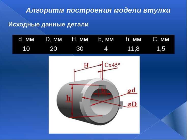 Алгоритм построения модели втулки Исходные данные детали d,мм D,мм H,мм b,...