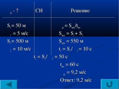 υср - ? СИ Решение S1 = 50 м υср = Sвесь/tвсе υ1 = 5 м/с Sвесь = S1 + S2 S2 =...
