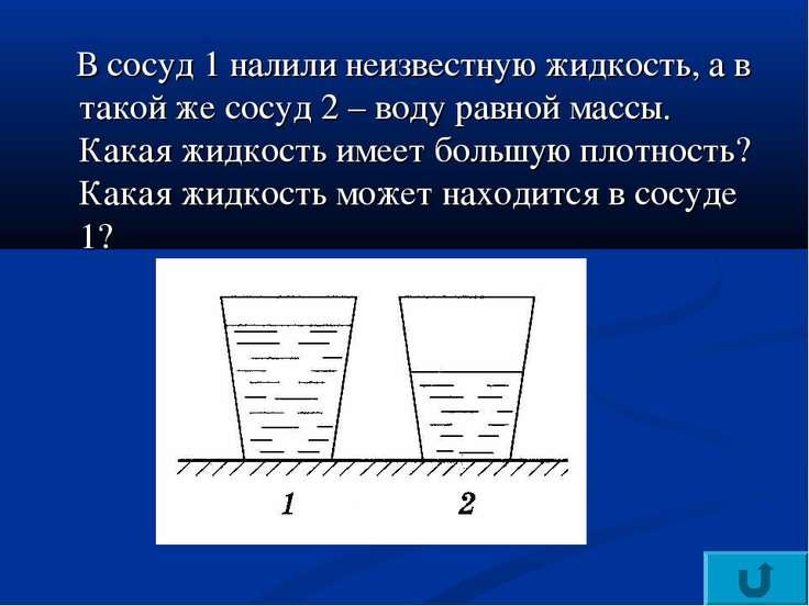 В сосуд 1 налили неизвестную жидкость, а в такой же сосуд 2 – воду равной мас...