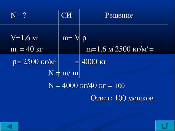 N - ? СИ Решение V=1,6 м3 m= V m1 = 40 кг m=1,6 м3 2500 кг/м3 = = 2500 кг/м3 ...