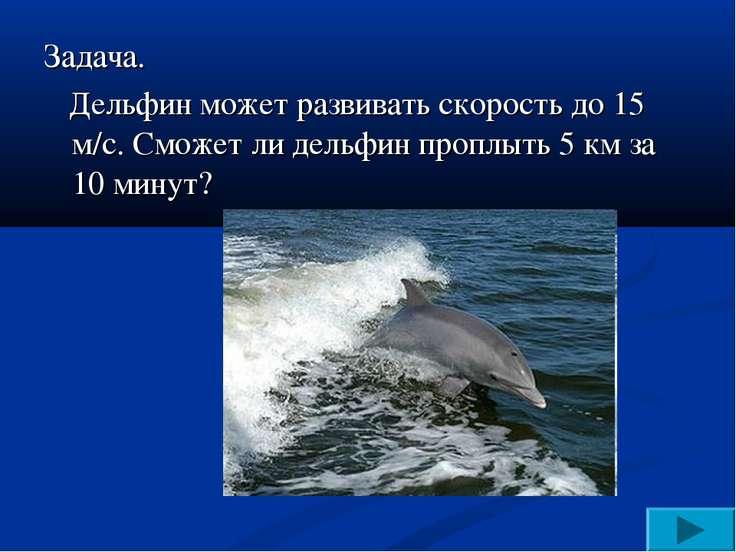 Задача. Дельфин может развивать скорость до 15 м/с. Сможет ли дельфин проплыт...