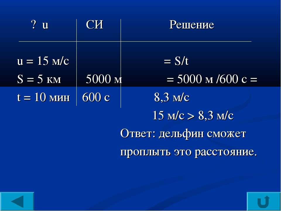 υ ? u CИ Решение u = 15 м/c υ = S/t S = 5 км 5000 м υ = 5000 м /600 с = t = 1...