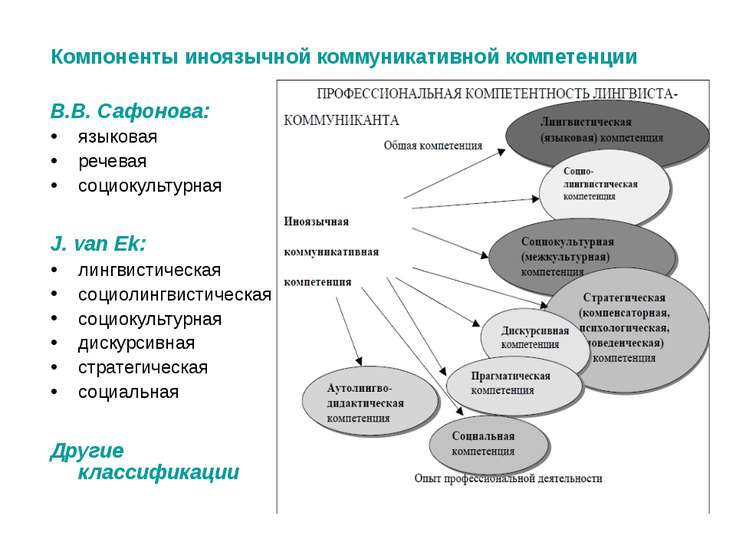 Компоненты иноязычной коммуникативной компетенции В.В. Сафонова: языковая реч...
