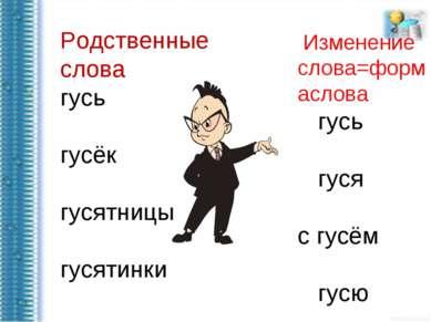 Родственные слова гусь гусёк гусятницы гусятинки Изменение слова=формаслова г...