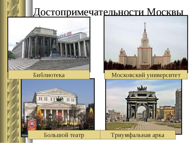 Достопримечательности Москвы Библиотека Большой театр Триумфальная арка Моско...
