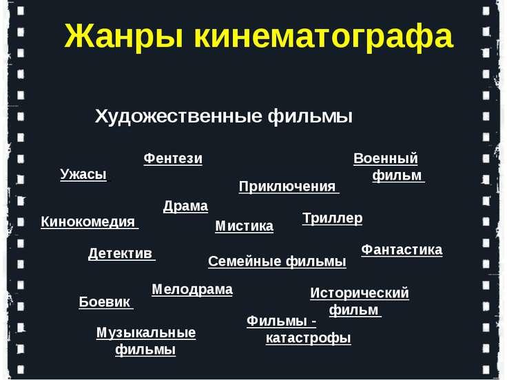 Художественные фильмы Жанры кинематографа Драма Мелодрама Боевик Детектив Вое...