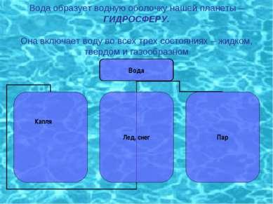 Вода образует водную оболочку нашей планеты – ГИДРОСФЕРУ. Она включает воду в...