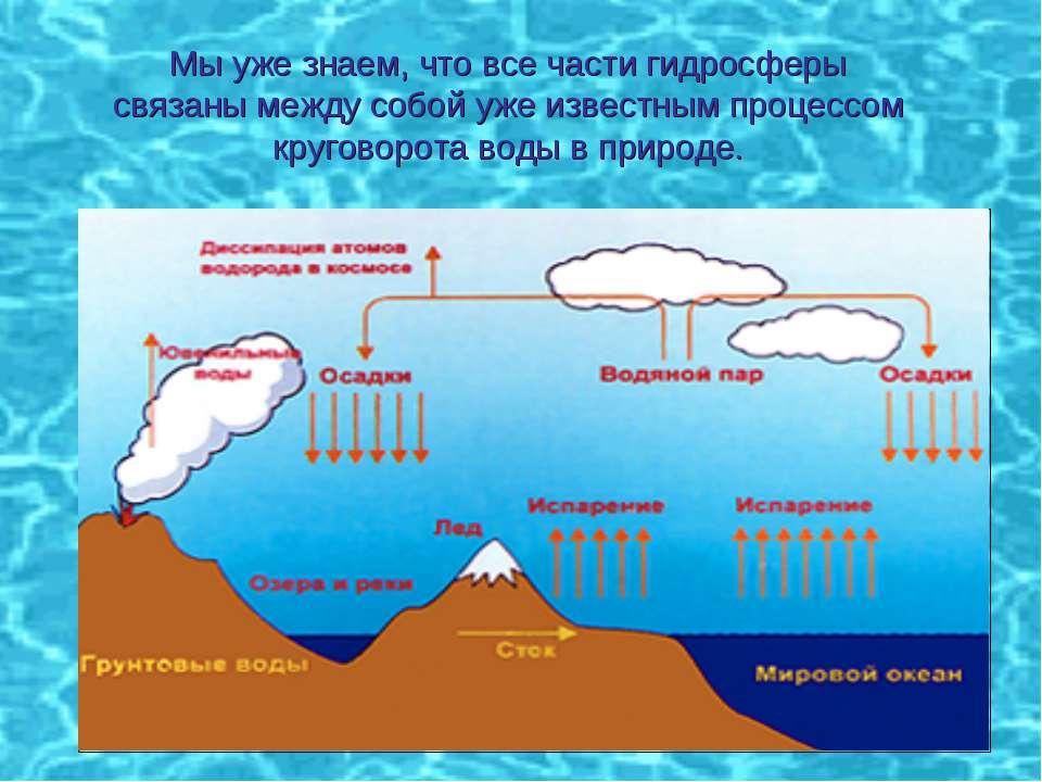 Мы уже знаем, что все части гидросферы связаны между собой уже известным проц...