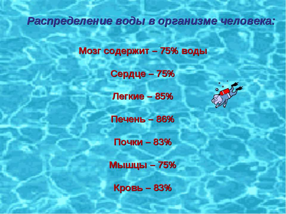 Распределение воды в организме человека: Распределение воды в организме челов...