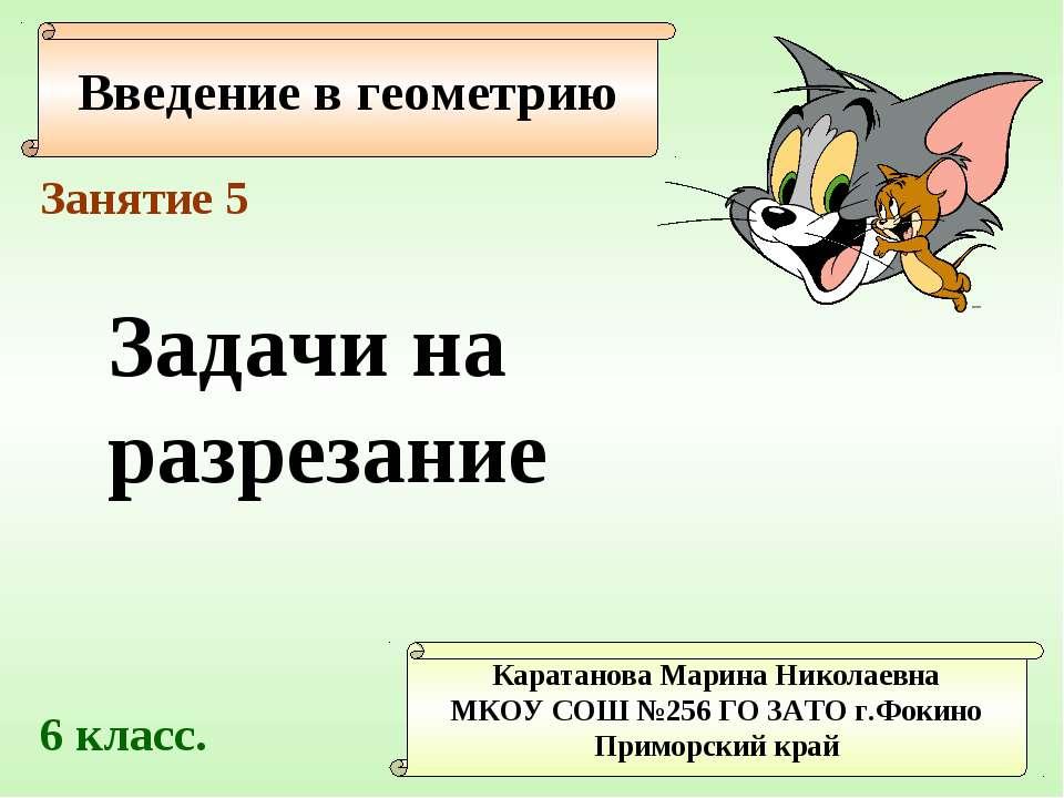 Введение в геометрию Каратанова Марина Николаевна МКОУ СОШ №256 ГО ЗАТО г.Фок...
