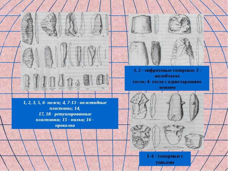 1, 2, 3, 5, 6- ножи; 4, 7-13 - ножевидные пластины; 14, 17, 18 - ретушированн...