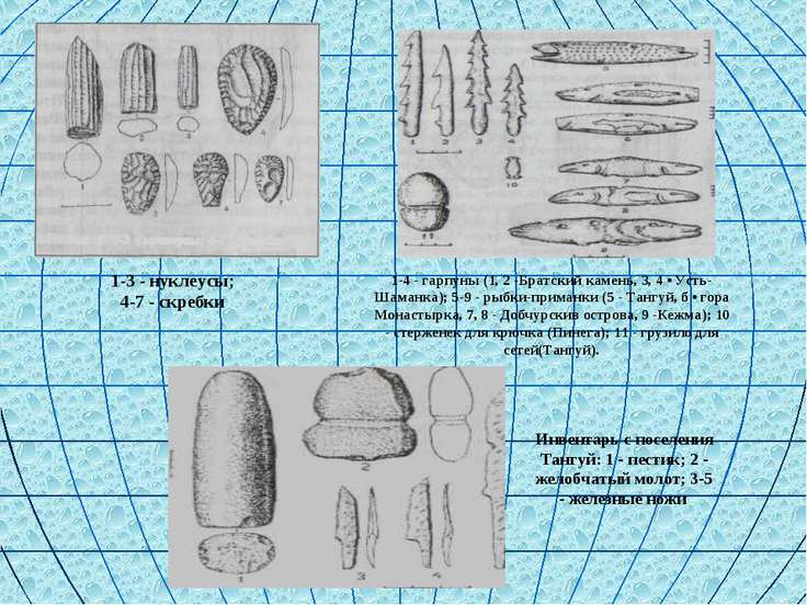 1-3 - нуклеусы; 4-7 - скребки 1-4 - гарпуны (1, 2 -Братский камень, 3, 4 • Ус...