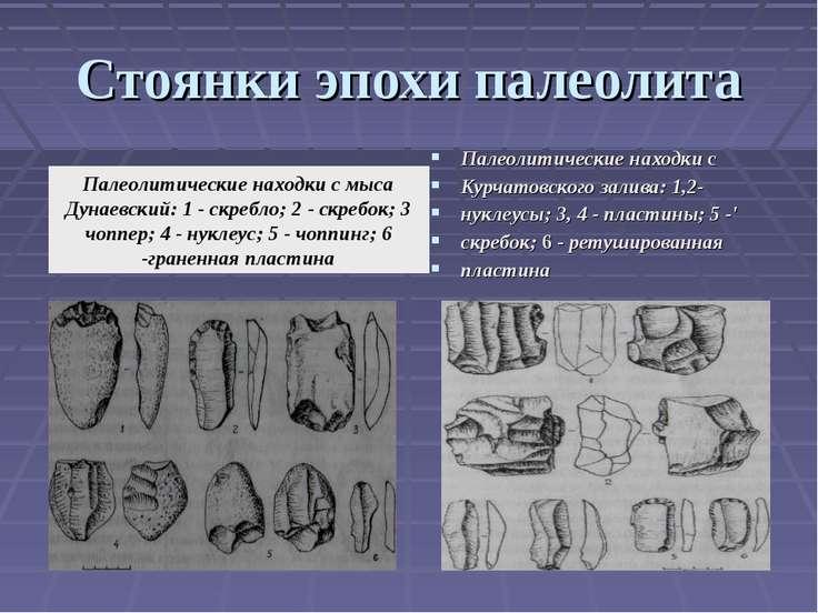 Стоянки эпохи палеолита Палеолитические находки с Курчатовского залива: 1,2- ...