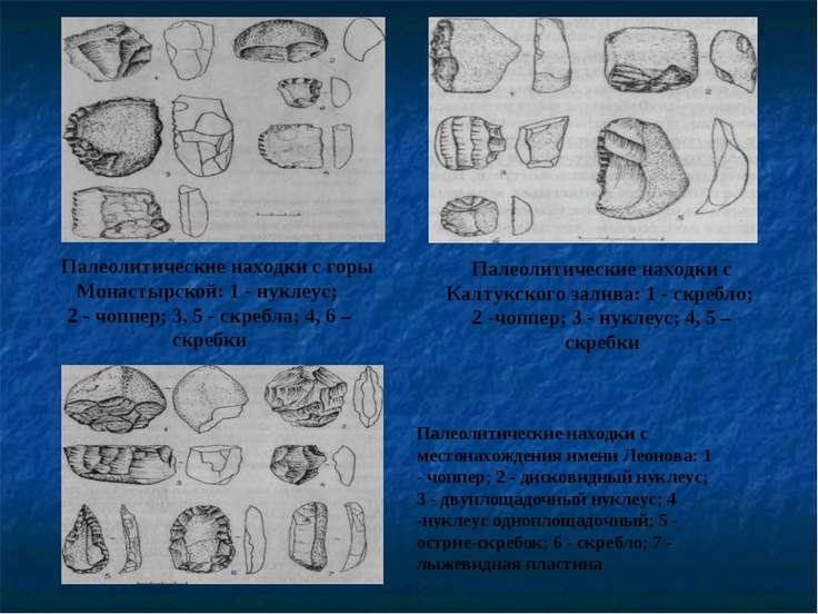 Палеолитические находки с Калтукского залива: 1 - скребло; 2 -чоппер; 3 - нук...