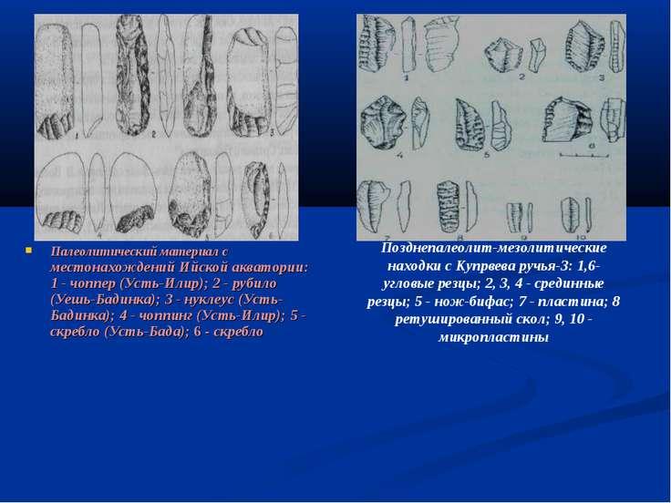 Палеолитический материал с местонахождений Ийской акватории: 1 - чоппер (Усть...