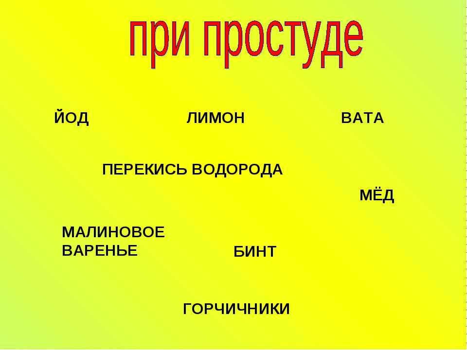 ЙОД ЛИМОН ВАТА ПЕРЕКИСЬ ВОДОРОДА МАЛИНОВОЕ ВАРЕНЬЕ МЁД БИНТ ГОРЧИЧНИКИ
