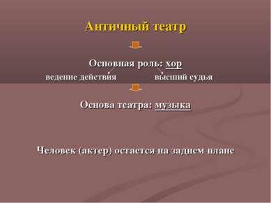 Античный театр Основная роль: хор ведение действия высший судья Основа театра...