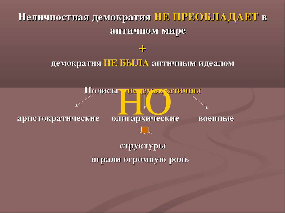 Неличностная демократия НЕ ПРЕОБЛАДАЕТ в античном мире + демократия НЕ БЫЛА а...