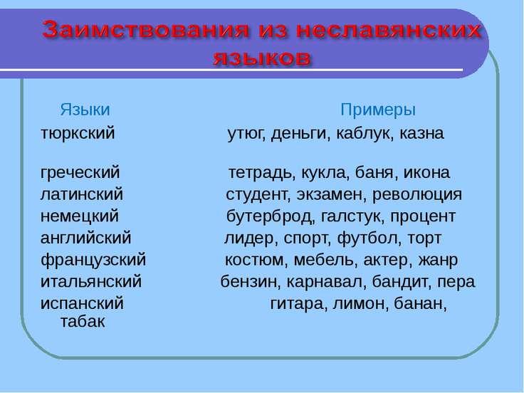 Языки Примеры тюркский утюг, деньги, каблук, казна греческий тетрадь, кукла, ...