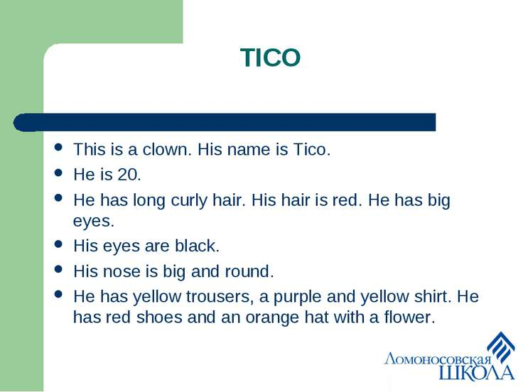 TICO This is a clown. His name is Tico. He is 20. He has long curly hair. His...