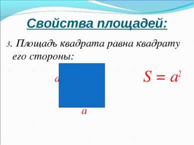 Свойства площадей: 3. Площадь квадрата равна квадрату его стороны: a S = а2 a