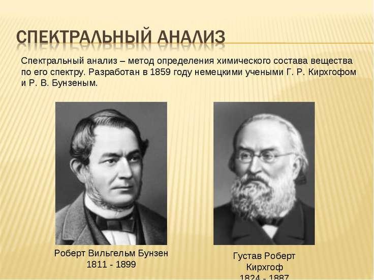Густав Роберт Кирхгоф 1824 - 1887 Роберт Вильгельм Бунзен 1811 - 1899 Спектра...