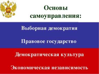 Выборная демократия Правовое государство Демократическая культура Экономическ...