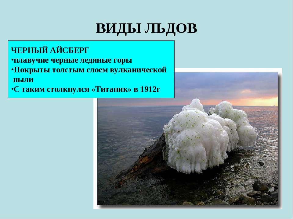 ВИДЫ ЛЬДОВ ЧЕРНЫЙ АЙСБЕРГ плавучие черные ледяные горы Покрыты толстым слоем ...