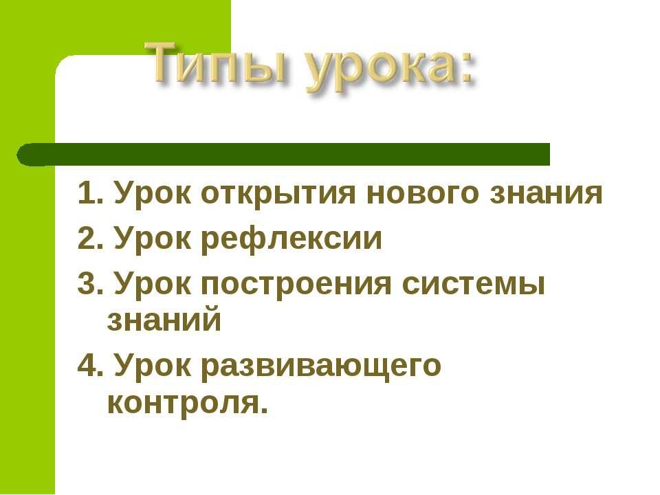 1. Урок открытия нового знания 2. Урок рефлексии 3. Урок построения системы з...