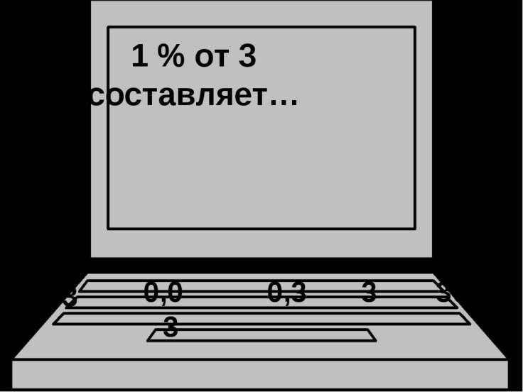 1 % от 3 составляет… 0,3 3 30 0,03 0,003