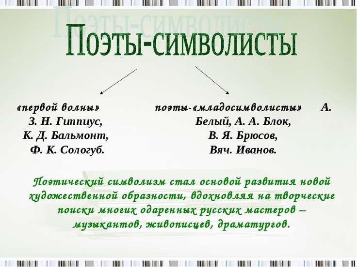 «первой волны» З. Н. Гиппиус, К. Д. Бальмонт, Ф. К. Сологуб. поэты-«младосимв...