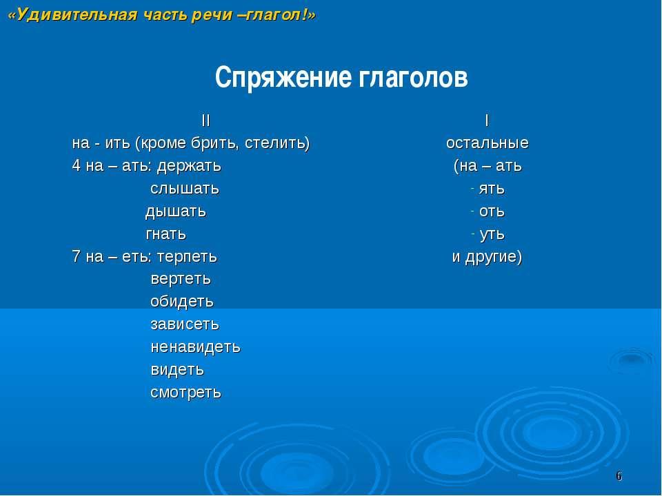 «Удивительная часть речи –глагол!» Спряжение глаголов II на - ить (кроме брит...