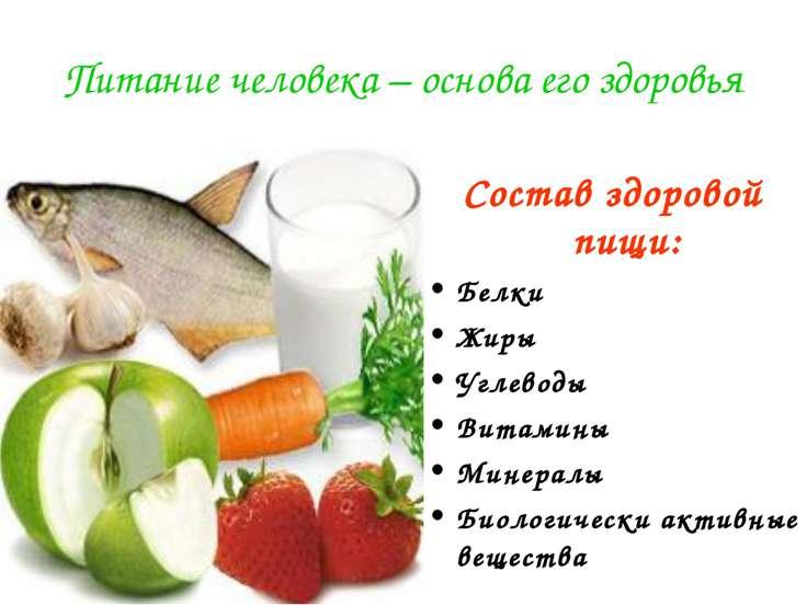 Питание человека – основа его здоровья Состав здоровой пищи: Белки Жиры Углев...