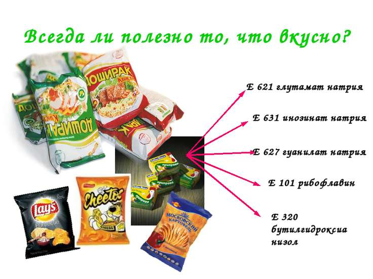 Всегда ли полезно то, что вкусно? Е 621 глутамат натрия Е 631 инозинат натрия...