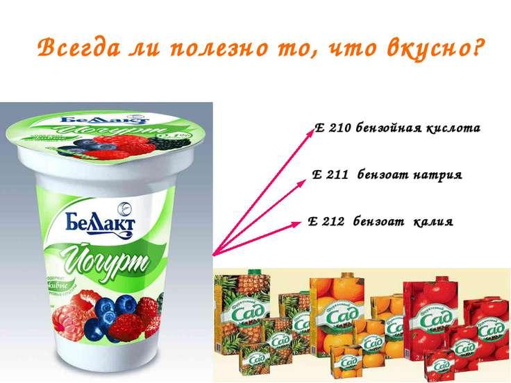 Всегда ли полезно то, что вкусно? Е 210 бензойная кислота Е 211 бензоат натри...