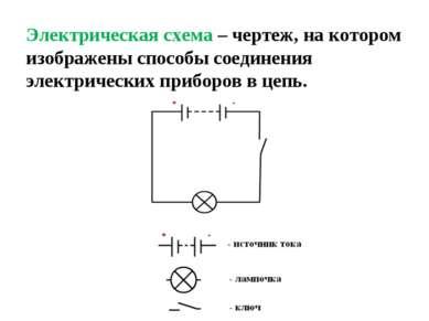 Электрическая схема – чертеж, на котором изображены способы соединения электр...