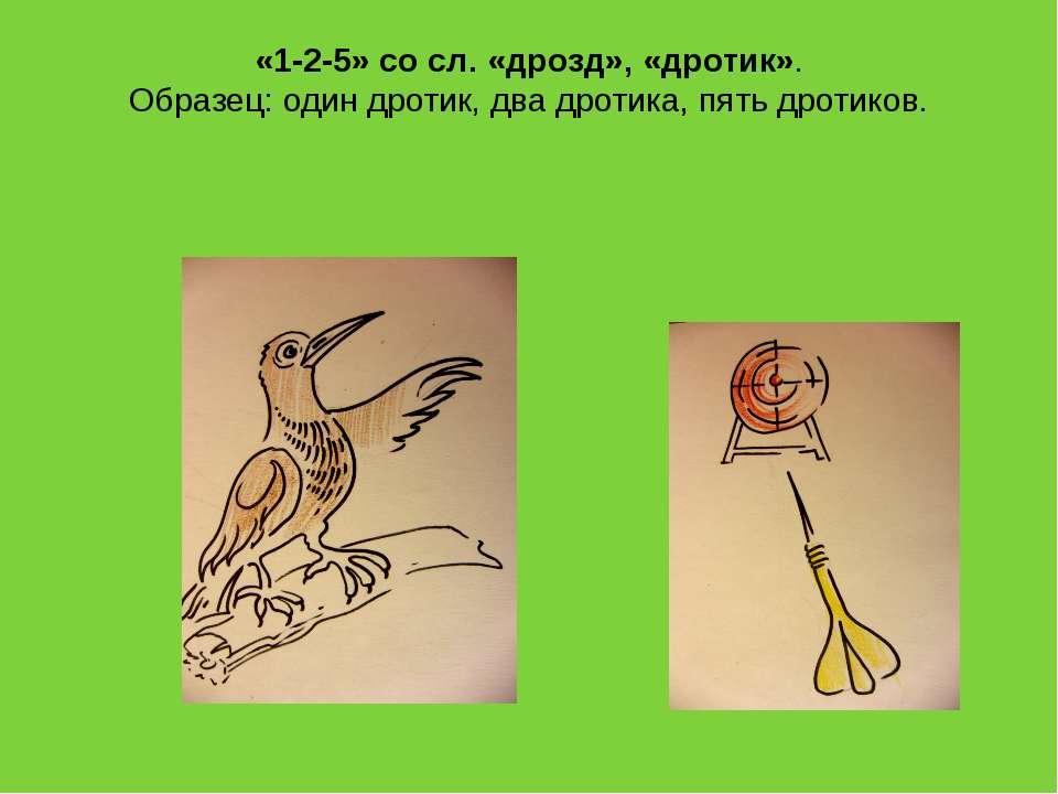 «1-2-5» со сл. «дрозд», «дротик». Образец: один дротик, два дротика, пять дро...