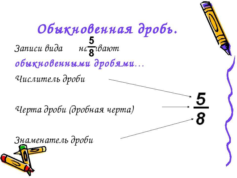 Обыкновенная дробь. Записи вида называют обыкновенными дробями… Числитель дро...