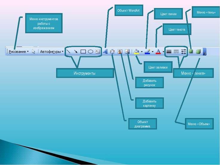 Меню инструментов работы с изображением Инструменты Объект WordArt Объект диа...