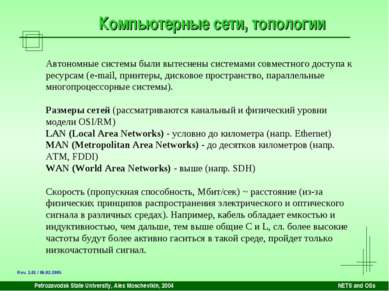 Petrozavodsk State University, Alex Moschevikin, 2004 NETS and OSs Компьютерн...