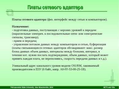Petrozavodsk State University, Alex Moschevikin, 2004 NETS and OSs Платы сете...