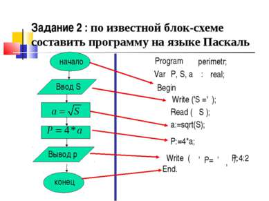 начало Ввод S Вывод p конец Program Var P, S, a : real; Begin Read ( S ); a:=...