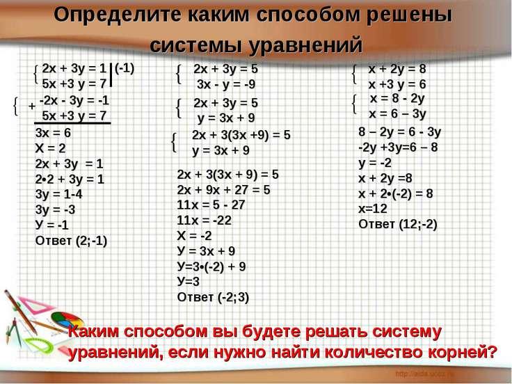 Определите каким способом решены системы уравнений Каким способом вы будете р...