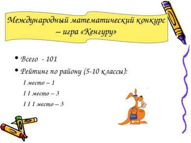 Международный математический конкурс – игра «Кенгуру» Всего - 101 Рейтинг по ...