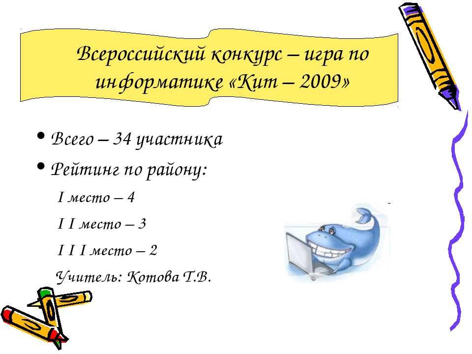 Всероссийский конкурс – игра по информатике «Кит – 2009» Всего – 34 участника...
