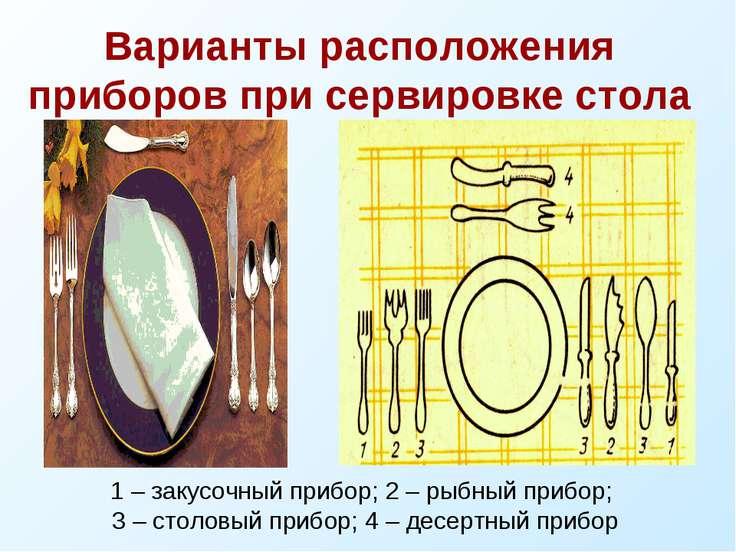 Варианты расположения приборов при сервировке стола 1 – закусочный прибор; 2 ...