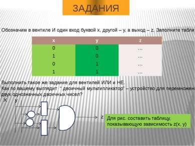 ЗАДАНИЯ Обозначим в вентиле И один вход буквой х, другой – у, а выход – z. За...