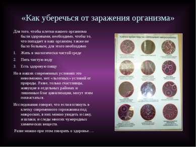 «Как уберечься от заражения организма» Для того, чтобы клетки нашего организм...