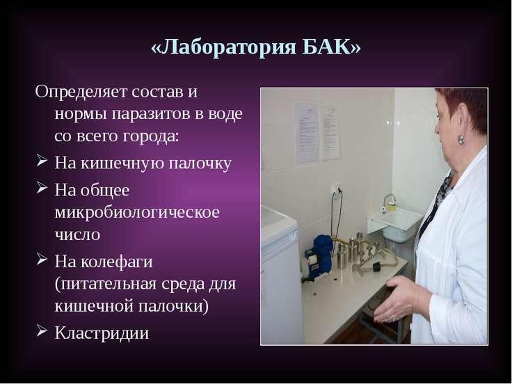 «Лаборатория БАК» Определяет состав и нормы паразитов в воде со всего города:...