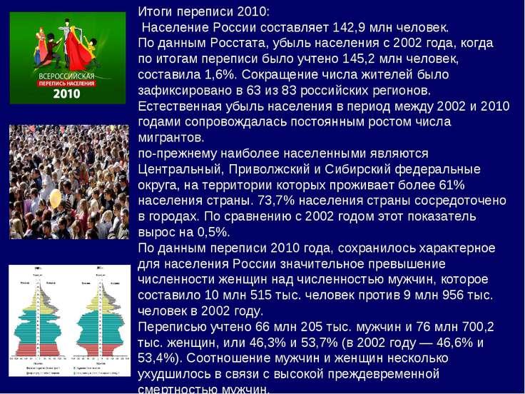Итоги переписи 2010: Население России составляет 142,9 млн человек. По данным...
